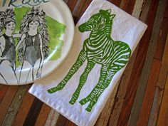 organic cotton napkins, set of four 4 for $20, printed with zebra