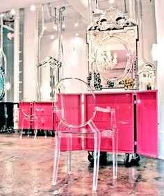 If I wanted a cool looking Hair Salon -- this would be uniquely Pink , but with style and the acrylic chairs tone down the power of the pink! The mirrors work well -- It's a win for me! COLOR DONE RIGHT! <3