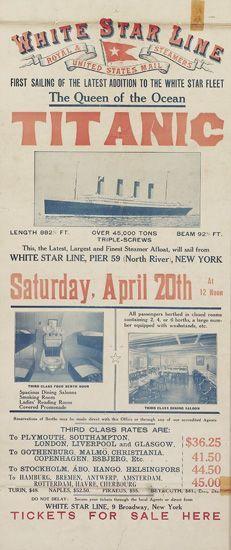 WHITE STAR LINE / TITANIC. 1912