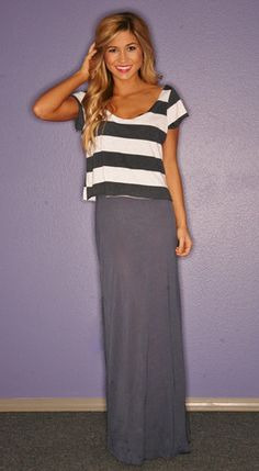 Long skirt with cut off shirt. LOVE. Super flattering for everyone.