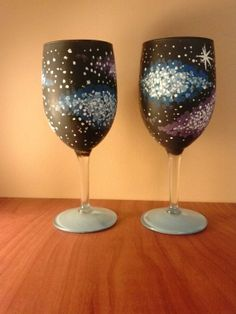 Hand painted Galaxy Wine Glasses by MyArtsieCreations on Etsy, $20.00