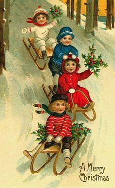 vintage images, vintage postcards, christma card, christmas cards, vintage christmas, vintag christma, sleigh ride, christmas images, vintage cards