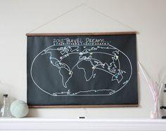 Erasable world chalkboard map.