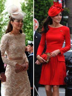Kate Jubilee Weekend McQueen Dress Red Pleats Champagne Lace Press Association
