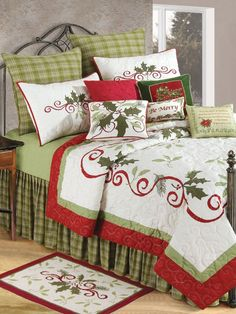 Christmas bedding with holly berries.