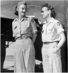 Nancy Love, pilot (left), and Betty (Huyler) Gillies, co-pilot, the first women to fly the Boeing B-17 Flying Fortress heavy bomber.