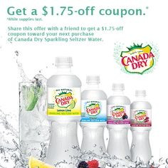 Share this offer with a friend to get a $1.75-off coupon toward your next purchase of Canada Dry Sparkling Seltzer Water.