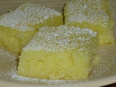 Two ingredient Lemon Bars.   1 box angel food cake mix  1 can lemon pie filling. Mix dry cake mix and cans of pie filling together in large bowl (I just mixed it by hand) Pour into greased baking pan. Bake at 350 degrees for 25 minutes or until top is starting to brown.