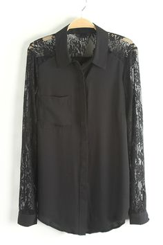 chiffon shirt with lace sleeves and back!!