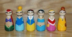 6 Wooden Princess Peg Dolls by HethrFethr on Etsy