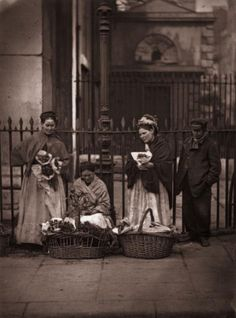 Flower Women  1877: Victorian flower women selling bouquets at Covent Garden market. Original Publication: From 'Street Life In London' by John Thomson and Adolphe Smith - pub. 1877 (Photo by John Thomson/Hulton Archive/Getty Images)
