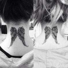 Angel Wings Neck Tattoo