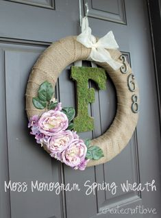 Moss Monogram Spring Wreath at createcraftlove.com #spring #wreath