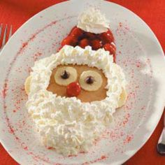 Santa pancakes! To make for our North pile breakfast to welcome back our elf!