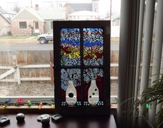 Mosaic Window Vases and Flowers by PiecesofhomeMosaics on Etsy, $275.00