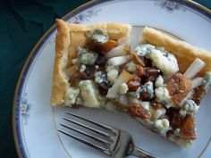 Pear, fig, blue cheese party appetizer