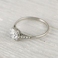 Beautiful Vintage 1 Carat Cushion Cut Engagement Ring.