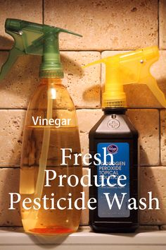 DIY Pesticide Wash for Non Organic Produce 1.  Put produce in a bowl and spritz well with vinegar.   The acidic vinegar actually breaks down chemicals from the field and waxes or any storage enhancers that may have been used will rinse away. 2.  Spritz well with 3% Hydrogen Peroxide.  This step will sanitize the produce. Finally, rinse under cold water.