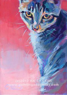 "Painting a Dog a Day - ""Bug (aka Mona Lisa)"" by Kimberly Kelly Santini, $289 . Pet portraits with style!"