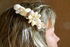 Hair Accessory Shell Pearl Barrette Beach Wedding Bride Handcrafted Sewn 465