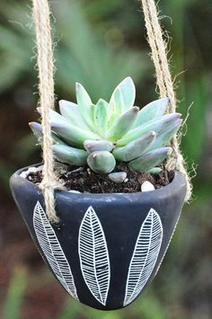 Scalloped Garland Design Black and White Hanging Succulent Planter with Natural Rope. $25.00, via Etsy.