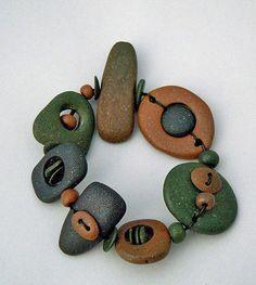 Polymer clay bracelet clays, green ochr, bracelets, clay jewelri, polym clay, polymer clay, clay bracelet