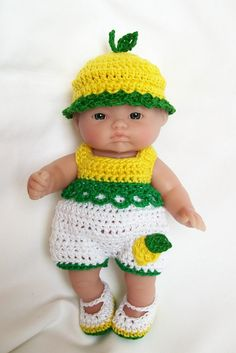 Crochet Berenguer Doll clothes 5 inch doll Lemon by littledarlynns, $12.99
