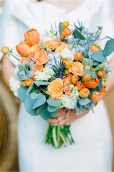 peach and teal wedding bouquet