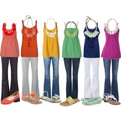 Love all the colors--perfect outfits for spring and summer