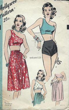 Vintage 1946 One Shoulder Bra Top Side Buttoned by sydcam123, $85.00