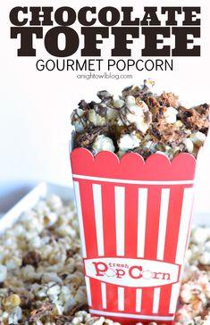 Chocolate Toffee Gourmet Popcorn via anightblog.com >> #WorldMarket Snacks, Appetizers, Recipes