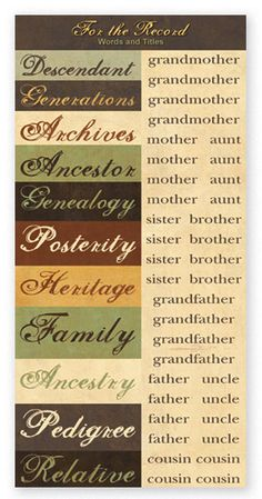For The Record Collection - Genealogy Words Accessories Sheet