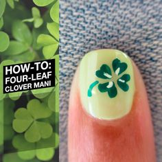 Simple four-leaf clover nails tutorial for St. Patricks day nail art manicure