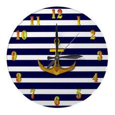 Navy Wall Clock by elenaind