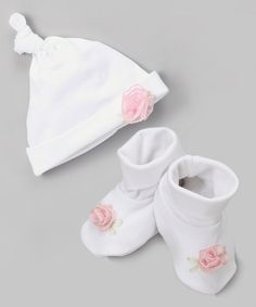 Loving this White & Pink Flower Single-Knot Beanie & Booties on #zulily! #zulilyfinds