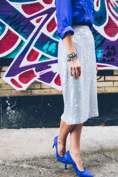 cobalt, sequins + a stacked wrist