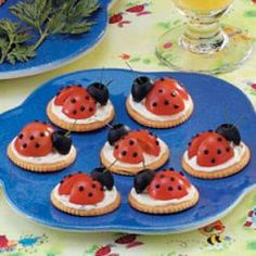 cherry tomato, olive, cream cheese and crackers----only because I like ladybugs, not because I lilke tomatos.
