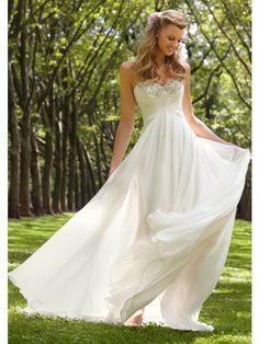 A-Line Strapless Sweetheart White Chiffon Beads Zipper Buttons Back Beach Wedding Dresses