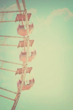 Carnival Photography, Boardwalk Photograph, Nursery Decor,                                                               Pastel Ferris Wheel