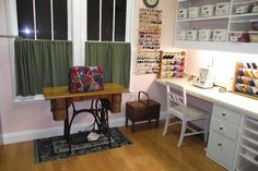 Sewing room re-model project by Sewzq. Love the crazy quilt sewing machine cover. #sewing #craft room #quilt