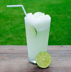 Fresh Lime Sherbet Float    (Juice from 1/4 of a fresh lime,    lime sherbet,    chilled Sprite)
