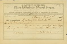 Oct. 31, 1863: In this telegram, Molly's brother R.B.M. Wilson, in Washington, Illinois, informs his friend in nearby Peoria, Dr. Murphy, that James was wounded and a prisoner, but all right. http://historyhappenshere.org/archives/7449