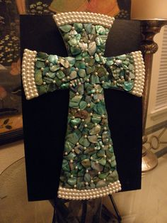 Turquoise Mother of Pearl Mosaic Wall Cross by glassyladiesstudio, $45.00