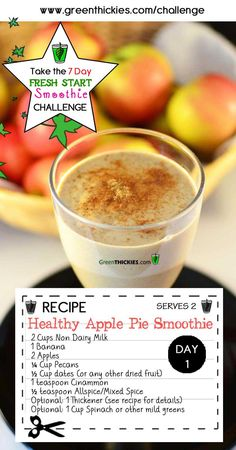This Gorgeous Filling Healthy Apple Pie Smoothie is one of the delicious smoothies on the FREE 7 Day FRESH START SMOOTHIE CHALLENGE.    Join the Challenge, FREE by clicking the link below:  http://www.greenthickies.com/7-day-fresh-start-smoothie-challenge  #smoothies #smoothie #smoothie challenge #green smoothie #green smoothie challenge