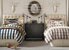 boy room, twin beds