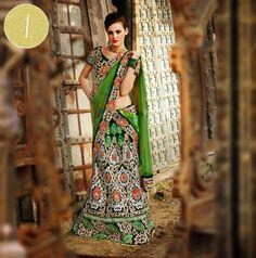 green gold indian wedding lengha via IndianWeddingSite.com
