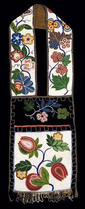 Floral Bandolier Bag. Tribe: Ojibwe, Great Lakes Area, North Dakota style  Material: Glass beads, cotton textile, velvet textile, ribbon, cotton thread. Shown at Milwaukee Public Museum