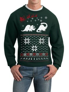 Christmas sweater- Santa Dinosaur- pullover sweatshirt , via Etsy.