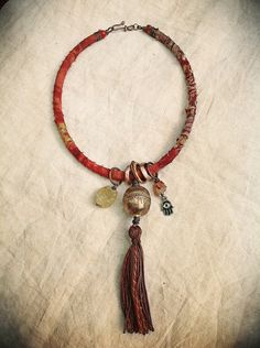 Gypsy tribal necklace silk