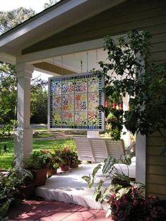 porch art, garden window, old windows, glass window ideas, front porches